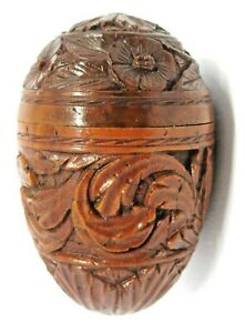 ANTIQUE 19th CENTURY  CARVED WOOD EGG SHAPE  BOX
