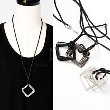 Squared Ring Charm Rope Necklace NewStylish Mens Fashion Accessory Overlap