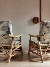 3 PC vintage rattan set. Pair recliner armchairs, footstool mid century cane 60s