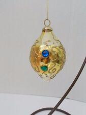 Glass Teardrop Ornament w/Beads & Raised Metallic Gold Accents