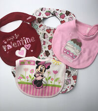 Baby Girl Bibs - Lot Of 4. Cupcakes, Minnie, Valentines,