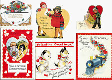 Vintage Valentine's Cards Children Fold Out Lot of 6 Mixed Subjects 1920-50s