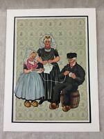 1932 Vintage Stampa Tradizionale Olandese Costume Maglia Lana Olanda Holland