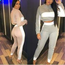 Women's Cropped Runner 1/4 Zip Two Tone Colour Contrast stripe detail Tracksuit