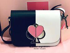 🆕 Kate Spade Nicola bicolor Twistlock Bag Black/White Leather Pink Heart 💕