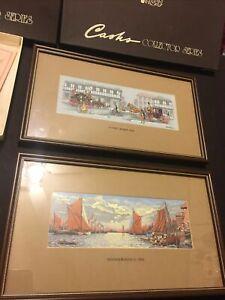 Framed Woven Silk J J Cash Picture of 'Street Scene - 1842'& Thames Barges 1870