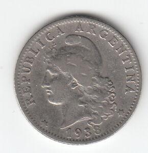 ARGENTINA 1938 20 centavos- Lady Liberty-  KM36  R920