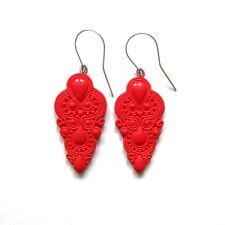 Élégante moderne robe de soirée lustre bright chaud rouge longue sexy boucles d'oreilles bijoux