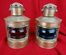 Ancienne Paire de Lanternes de Bateau, Bâbord, Tribord Lampe à Pétrole Cuivre