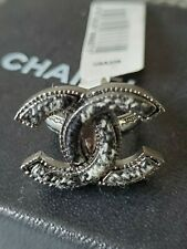 NWT $500 CHANEL EDINBURGH COLLECTION CC RING IN GILDED METAL AND TWEED SZ 52/6