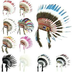 Indian Headdress Chief Feathers Bonnet Native American Gringo Fancy Dress Party