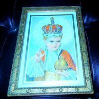 Vintage Catholic INFANT OF PRAGUE Gold Wood Frame Wall Plaque