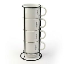 Set of 4 Coffee Break Tower Mugs in White by Signature Housewares