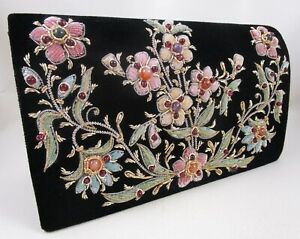 EXQUISITE VINTAGE STYLE INDIAN VELVET BOULLE EMBROIDERY GEMSTONE CLUTCH PURSE