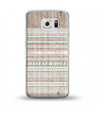 Coque Galaxy S6 Edge effet Bois 2 Aztec ethnique rose blanc