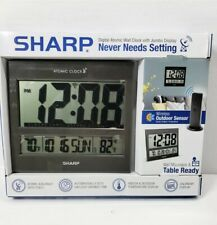 Sharp Jumbo Digital Atomic Wall Clock w/ Wireless indoor/outdoor Temperature
