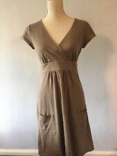 BODEN khaki Brown short Sleeve Cotton Day Dress Size 10 VGC