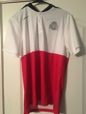 New OHIO STATE Buckeyes Mens Nike 2 button golf Shirt Dri-fit White Red Small