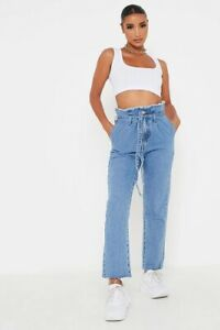 I Saw It First Mid Wash High Waist Paper Bag Boyfriend Jeans Size 6 New rrp £40