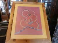 Navajo Dancer With Feathers Red, Blue and More by J Bear Framed & Matted Print