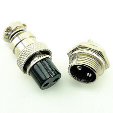 Aviation Plug GX16-2 2pin 16mm Male & Female panel Metal Connector