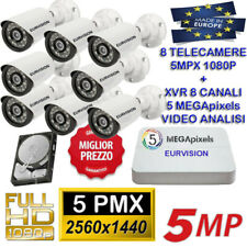 KIT VIDEOSORVEGLIANZA DVR VIDEO ANALISI 5MPX + 8 SONY EURVISION 5MP  +  HD SATA