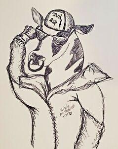 MC Holstein Bull Rap, 5x7 Pop Art Print, Signed by Artist KSams Cow Farm Ink