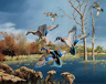 """Wood Ducks in Autumn Lake Landscape Quilting Fabric Panel 36"""" x 44"""""""