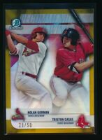 NOLAN GORMAN TRISTON CASAS 2018 1st Bowman Chrome GOLD REFRACTOR #/50 Rookie RC