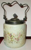 Antique 1890's Wavecrest Pansy Type Flower Design Biscuit Jar