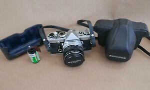 Olympus OM-1 35mm SLR Film Tested, Works, 50MM f1.8, New Battery, Case, Cap