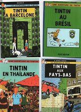 Carte TINTIN PASTICHE. Les voyages de Tintin. Série B. Lot de 4 cartes