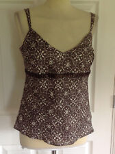 BNWT Brown & Ivory PRINCIPLES 100% Lino Top con Spalline Canottiera UK 14