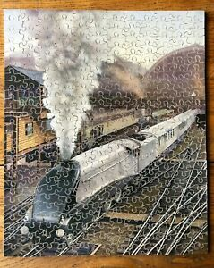 """VINTAGE  VICTORY WOODEN JIGSAW PUZZLE """"THE SILVER JUBILEE"""" ( L.N.E.R.) COMPLETE"""