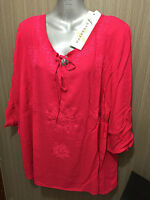 BNWT Womens Sz 18 Autograph Brand Cheesecloth Peasant Berry Tunic Top RRP $50