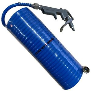 """AIR COMPRESSOR DUST GUN RECOIL HOSE LINE TOOL TOOLS 1/4"""" COILED COIL 25FT 7.6M"""