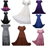 Boho Maxi Victorian Dress Summer Embroidered Tiered Empire Waist S M L XL XXL