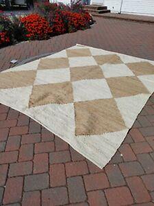 9 x 12 ft $539 NEW Nuloom BOHO Jute Rug Crate and Barrel modern beige white