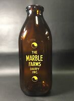 Amber Quart Milk Bottle - Marble Farms Dairy Inc. Syracuse, NY -Yellow Lettering