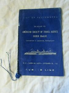 Lot54 - 1956 RMS QUEEN ELIZABETH ASTA Silver Jubilee EMPTY Passenger List CUNARD