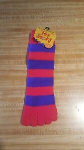 Gold Medal Hosiery Toe Socks Size 9-11 Red Purple Winter Women Juniors
