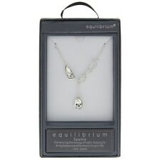 Equilibrium Silver Plate Dragonfly Teardrop Necklace Clear Stones BNIB 54759