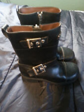 WOMENS HARLEY DAVIDSON BLACK LEATHER BIKER BOOTS WITH BUCKLES SIZE 6