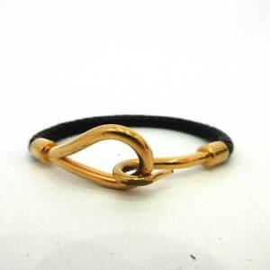 Hermes Jumbo Breath Black x Gold Bracelet Bangle Accessory Metal x Leather HERME