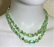 VINTAGE GREEN IRIDESCENT CRYSTAL DOUBLE STRAND CHOKER NECKLACE VTG