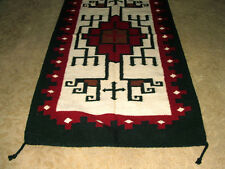 """Throw Rug Tapestry Southwest Western Hand Woven Wool 20x40"""" Replica #307"""