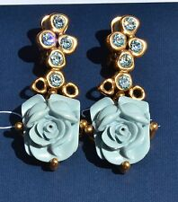 Oscar de la Renta Resin Rose Baby Blue Crystal Dress Clip On Statement Earrings