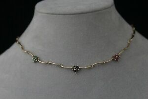 Vintage Ross Simons Ruby Sapphire and Emerald 18K Gold Over Sterling Necklace