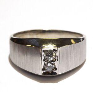 14k white gold .30ct SI1 H diamond 2-stone mens ring 7.4g gents vintage estate