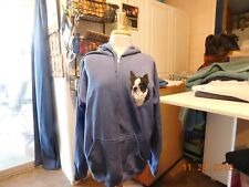 NEW BOSTON TERRIER HEAD VIEW EMB HOODED SWEATJACKET ADD NAME FOR FREE